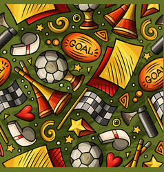 cartoon hand-drawn soccer seamless pattern vector image