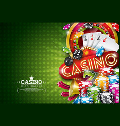 Casino with roulette wheel and vector
