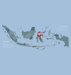 Central sulawesi and country map indonesia vector