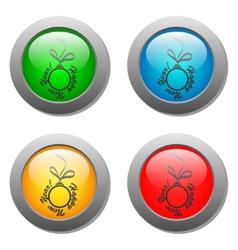 Christmas ball glass button set vector