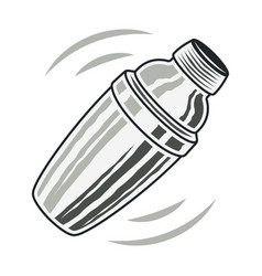 Cocktail shaker vintage isolated object vector