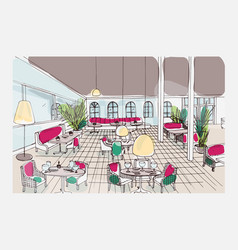 Colored hand drawn restaurant or cafe interior vector