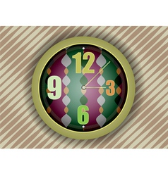 Colorful clock on abstract wall background vector image
