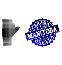 Composition of halftone dotted map of manitoba vector
