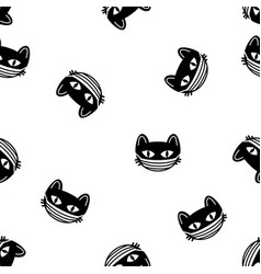 cute cat heads seamless pattern halloween vector image
