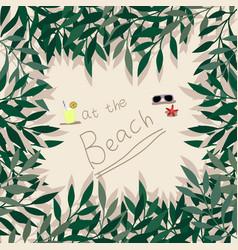 Cute girl at beach cartoon pattern vector