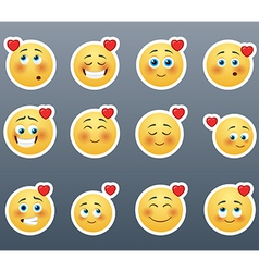 Cute smiles with hearts vector image