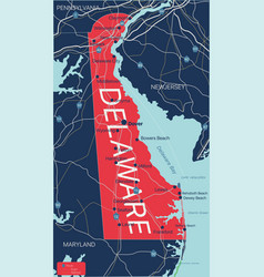 delaware state detailed editable map vector image