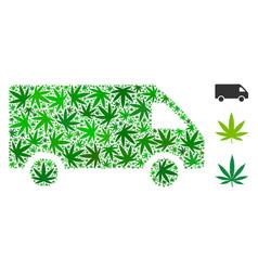 delivery car mosaic of marijuana vector image