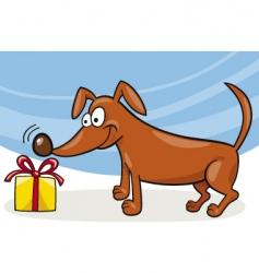 dog and Christmas gift vector image