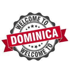 Dominica round ribbon seal vector