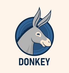 donkey head cute character mascot vector image