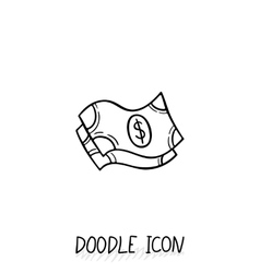 Doodle banknotes icon vector