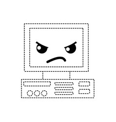 Dotted shape angry and cute computer technology vector