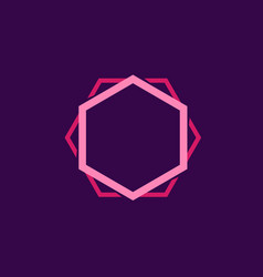 double lines hexagon shape in pink color vector image