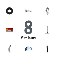 Flat icon component set of cambelt headlight vector