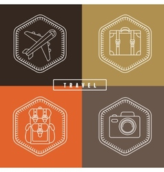 Flat travel badges in outline style vector