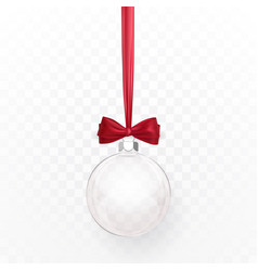 glass transparent christmas ball with red bow vector image