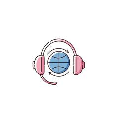 globe symbol wearing headphones flat icon of vector image