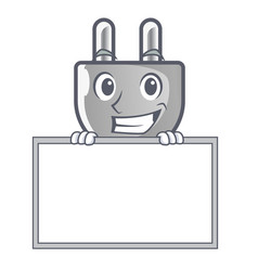 Grinning with board power plug stuck the cartoon vector