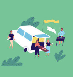 group happy friends enjoying outdoor picnic vector image