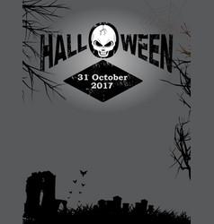 Halloween decorative text and skull on creepy vector