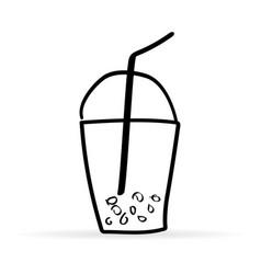 Hand-drawn plastic cup tapioca doodle vector