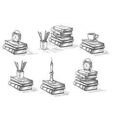 Hand drawn sketch stack books set clock pen vector