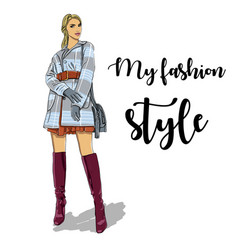 hand drawn woman in coat fashion model vector image