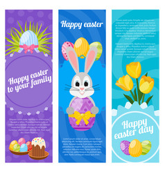 Happy easter day vertical banners vector