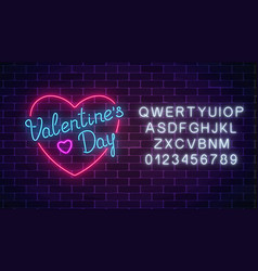 happy valentines day neon glowing festive sign in vector image