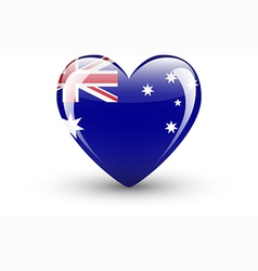 Heart-shaped icon with national flag of australia vector