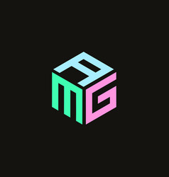 Hexagon logo with letters amg design vector