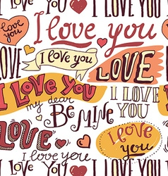 I love you hand drawn lettering seamless pattern vector