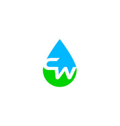 Initial letter cw drop water logo vector