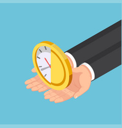 isometric businessman hands holding half clock vector image