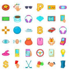 Jackpot icons set cartoon style vector
