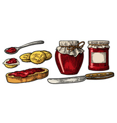 jar with packaging paper spoon knife and slice vector image