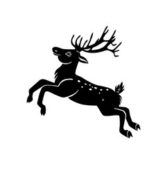 Jumping deer silhouette isolated on white vector