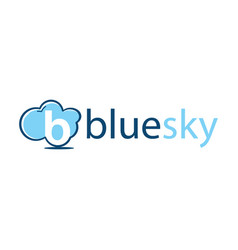 letter b logo with cloud element and text blue sky vector image