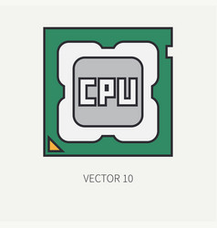 Line flat color computer part icon vector