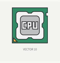 Line flat color computer part icon vector