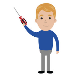man with screwdriver tool isolated icon vector image