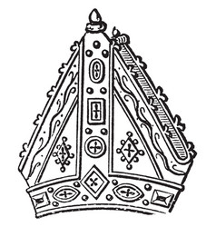 Mitre of bishop goodryke vintage engraving vector