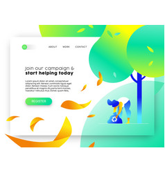 Nature help online web landing page template vector