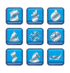 NY Icon set Blue vector image