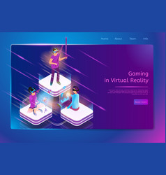Online gaming in virtual reality web banner vector
