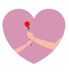 pair of hands holding a rose vector image