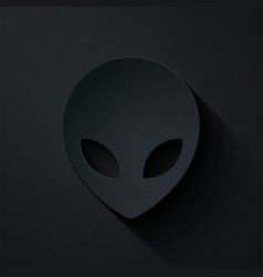Paper cut alien icon isolated on black background vector