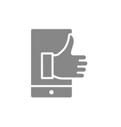 Phone with thumb up like gray icon approve app vector